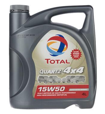 روغن موتور خودرو توتال مدل Quartz 4X4 چهار لیتری 15W-50